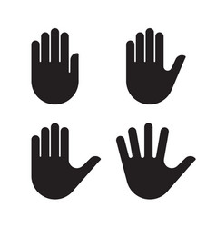 human hand black silhouette icon set collection vector image vector image