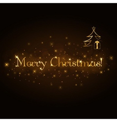 Merry Christmas gold card vector image vector image