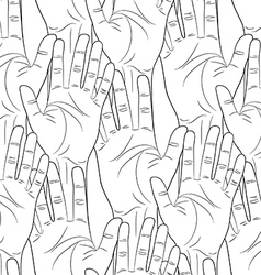 raised hands contour seamless pattern vector image vector image