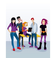 Students with Digital Tablet vector image vector image