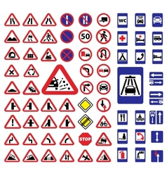 big traffic signs set vector image vector image