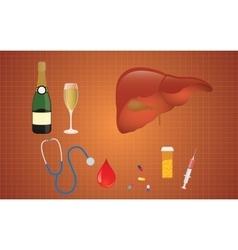 cirrhosis with liver medicine alcohol vector image vector image