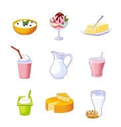 Different dairy products assortment set of vector