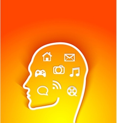 human head with multimedia elements vector image