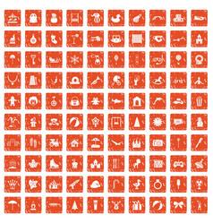 100 happy childhood icons set grunge orange vector image vector image