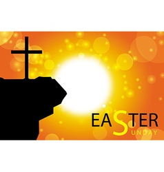 easter sunday card with cross symbol 3 vector image vector image