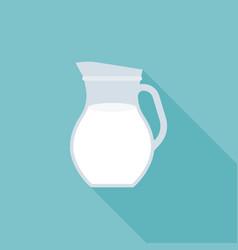 glass jug of fresh milk icon vector image
