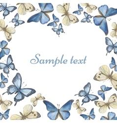 Heart from watercolor butterflies vector