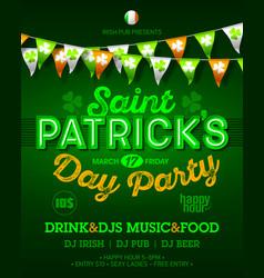 saint patricks day party invitation poster vector image vector image