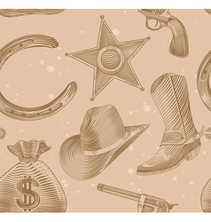 seamless cowboy pattern in engraving style - vector image vector image