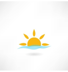 sun with sea wave icon vector image vector image