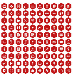100 renovation icons hexagon red vector