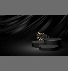 3d realistic black pedestal on a black silk vector