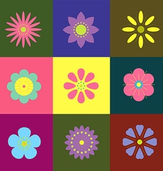 9 different flowers graphic style vector