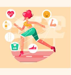 A beautiful girl jogging in park vector