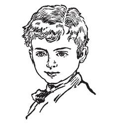 a face of a young boy vintage engraving vector image
