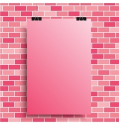 A pink poster on a pink wall EPS 10 vector image