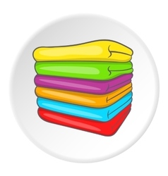 A stack of colored towels icon cartoon style vector