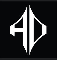 Ad logo monogram with diamond shape design vector