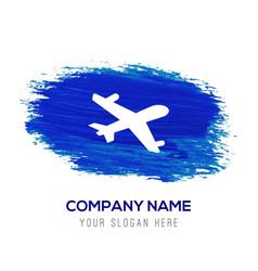 Aeroplane icon - blue watercolor background vector