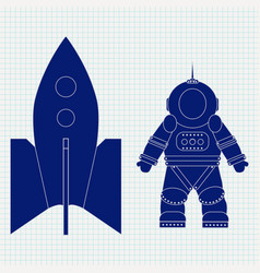 Astronaut and spaceship blue icon on lined paper vector