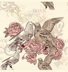 beautiful seamless floral pattern with roses dove vector image