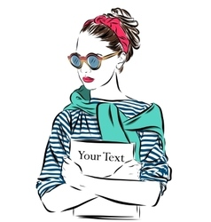 beautiful woman in sunglasses with journal vector image