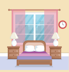 bed room scene icon vector image
