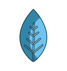 Blue line leaf of plant icon vector