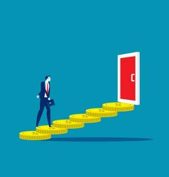 Business man walk on coin to door concept vector