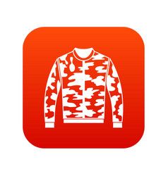 Camouflage jacket icon digital red vector