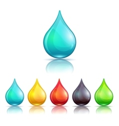 Cartoon colorful liquid drops set vector