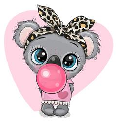 Cartoon koala girl with a bow and bubble gum vector