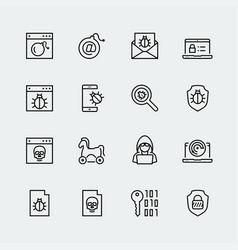 computer virus digital protection and hacker vector image