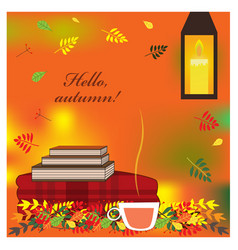 cozy autumn with plaid books and cup vector image