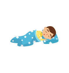 cute boy sleeping on his bed kids activity daily vector image