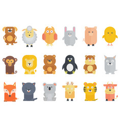 Cute cartoon animals collection flat vector