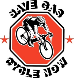 Cyclist racing bike set inside octagon vector