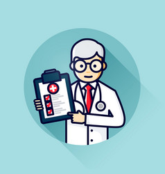 Doctor with check list icon modern line art avatar vector