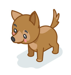 Dog cub isometric 3d cute puppy baby animal vector