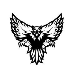 eagle mascot logo design white and black version vector image