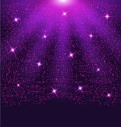 Falling sparkling purple particles and stars vector