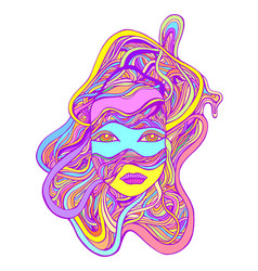 Fantastic abstract cyborg girl face in wires vector