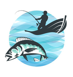 Fisherman in a boat and fish vector