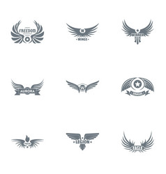 Freedom logo set simple style vector