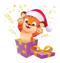 gift box with cute tiger in christmas hat leap out vector image