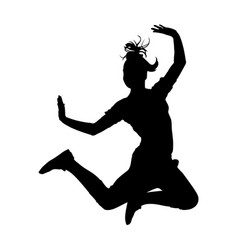 girl jump in dance silhouette vector image