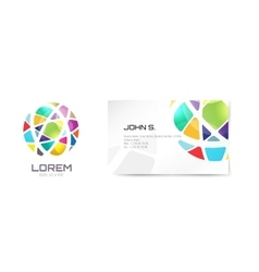 Globe logo and business card template vector