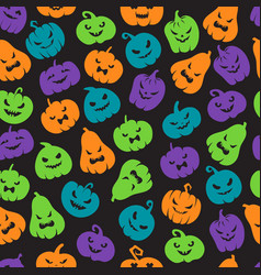 halloween pumpkins seamless pattern scary jack o vector image