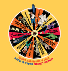 halloween wheel fortune with vector image